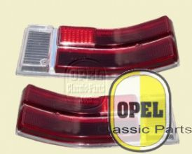 Taillight glass red/red/white set  Rekord C/Commodore A 1967-71