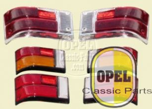 Taillight glass red/red/white set L+R Kadett B Olympia A 1967-72