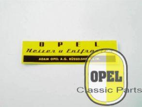 Aufkleber Opel Heizer und Entfroster Rekord Kapitän Blitz Kadett A 1953-66