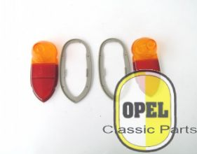 Taillight glass with gasket set L+R Rekord 1955-56