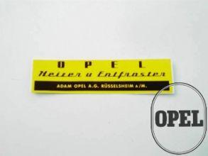 Sticker label Opel heater and defroster Rekord Kapitän Blitz Kadett A 1953-66